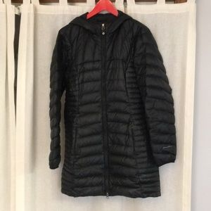 Eddie Bauer long black down jacket with hood